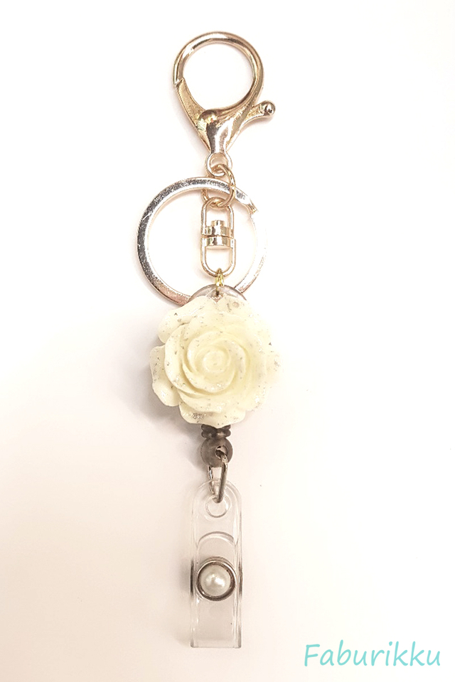 3D Rose WhiteBlack Hook-On Badge Reel