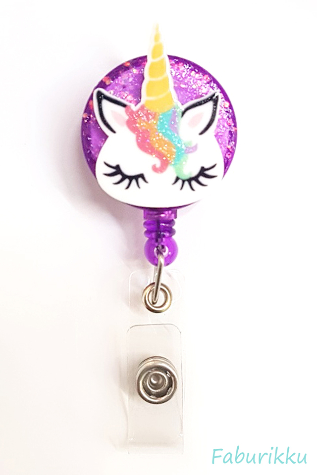 3D Unicorn RainbowMane Purple Clip-On Badge Reel