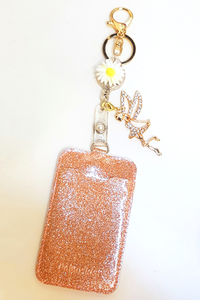 Sunflower Hook On Badge Reel with Cardholder and Fairy Charm