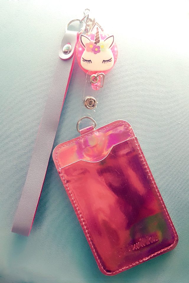 Pink Unicorn Badge Reel with Pink Hologram Cardholder and Wristlet Set