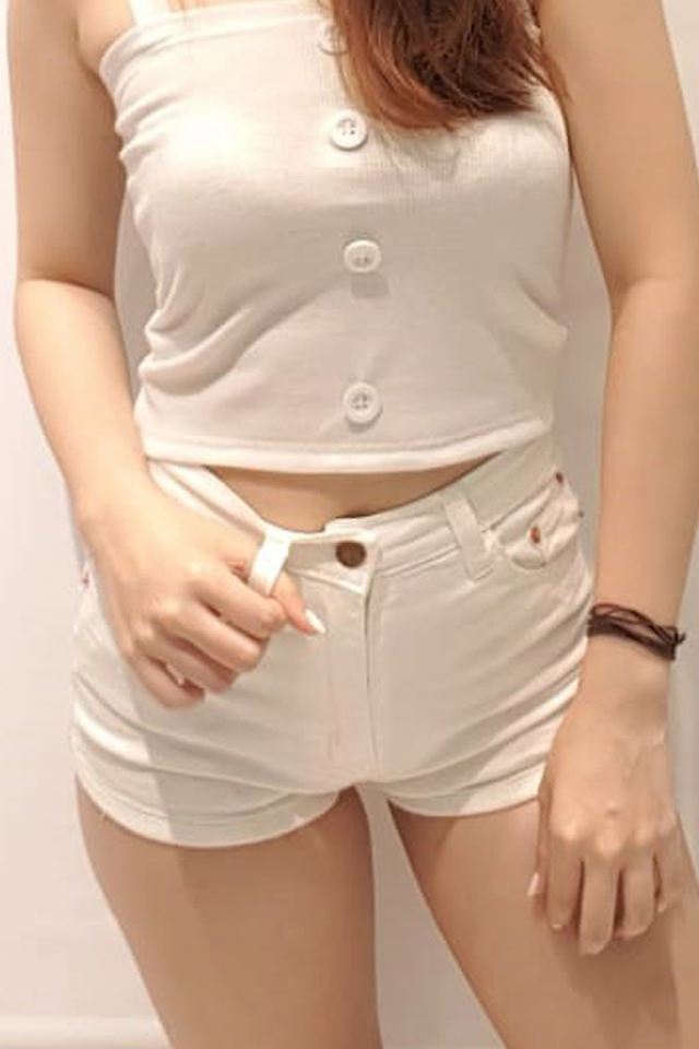 Curve Hem Denim Shorts (White)