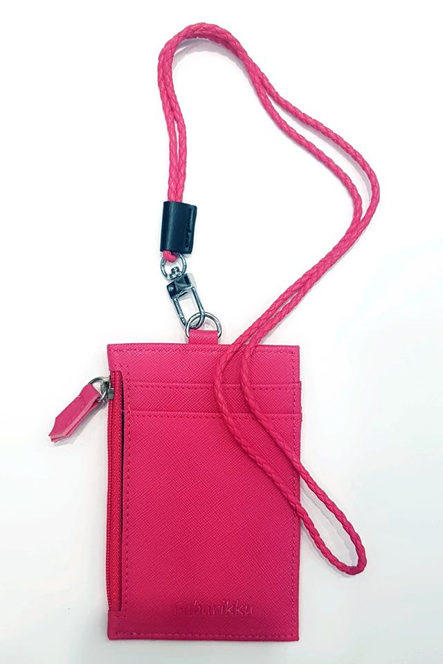 Dark Pink Zip Cardholder With Lanyard Set