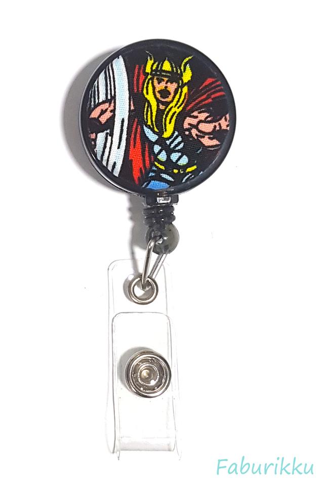 Thor [The Avengers] Black Clip-On Badge Reel