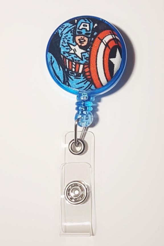 Captain America [The Avengers] Blue Clip-On Badge Reel
