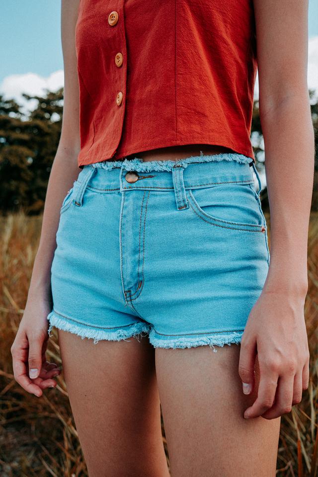 Top Bottom Fray Denim Shorts (4 colours)