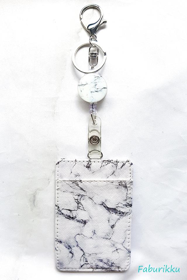 White Marble Hook On Badge Reel with Cardholder Set