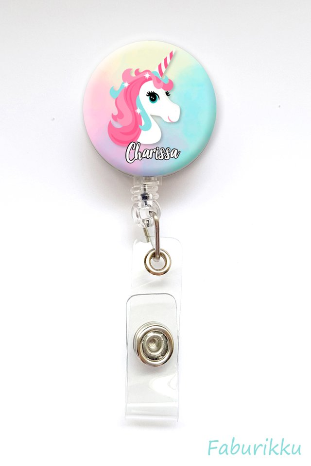 Personalise Unicorn Badge Reel (Clip-on)
