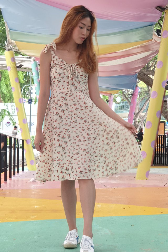 Floral Ribbon Ruched Dress (4 Colours)