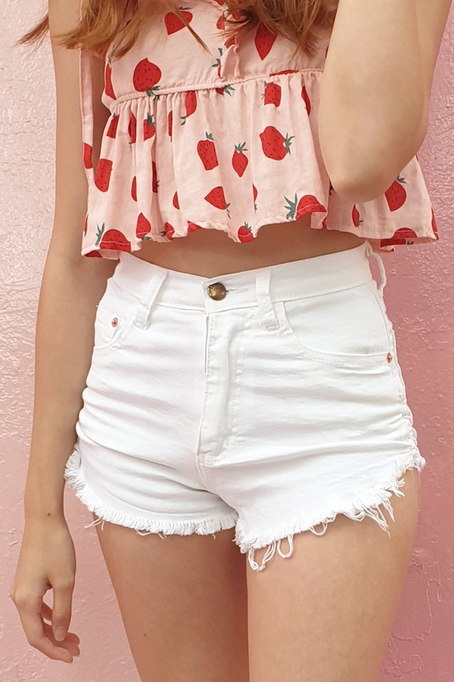 Side Ruched Stretch Denim Shorts (4 Colours)