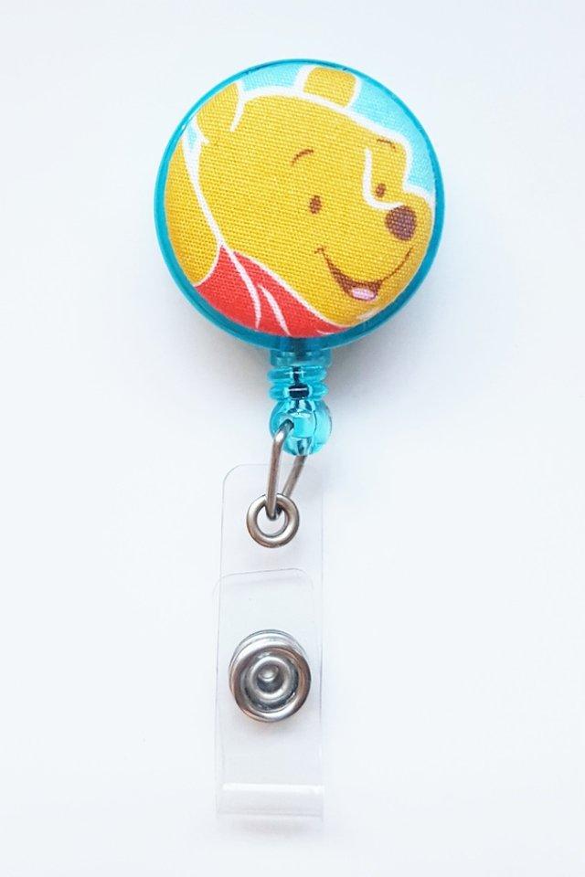 Pooh TurquoiseHead Clip-On Badge Reel