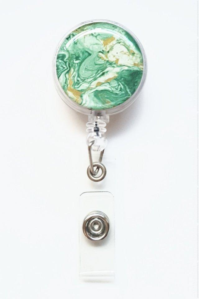 Marble Print Jade Green Clip-On Badge Reel