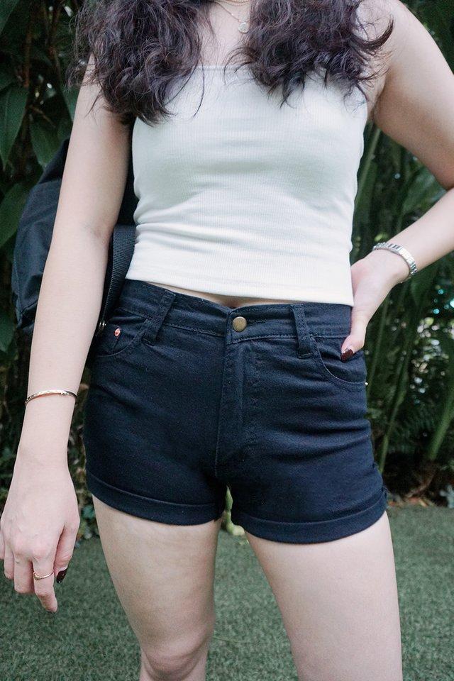 Roll Up Denim Shorts (Black)