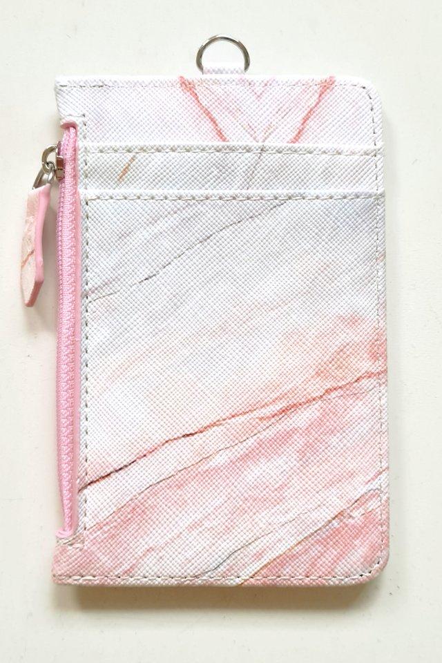 Coral Pink Marble Zip Premium Cardholder Portrait