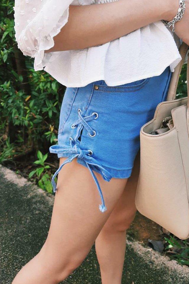 Lace Up Stretch Denim Shorts (3 colours)