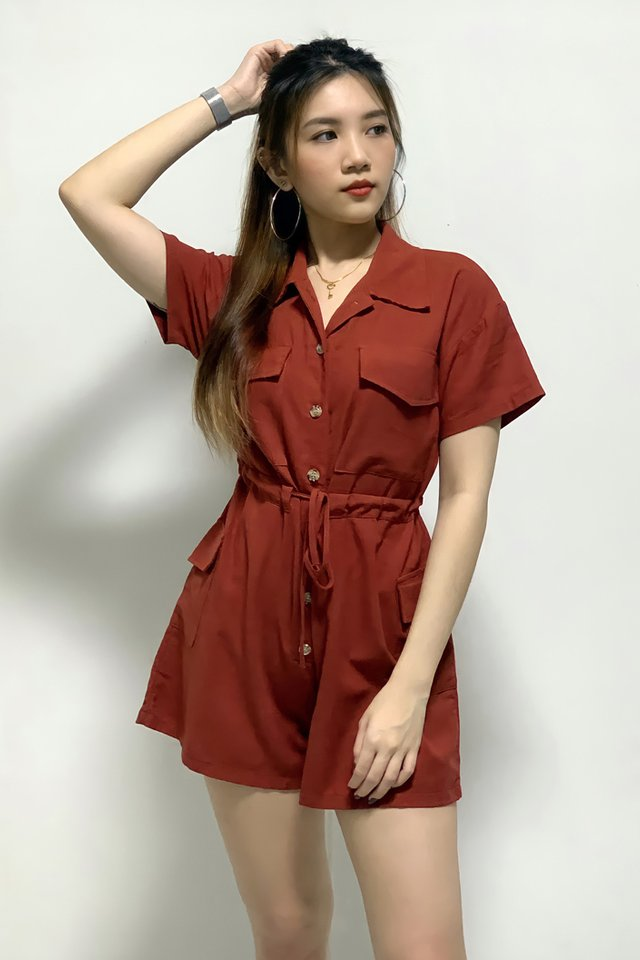 Pocket Linen Drawstring Romper (4 Colours)