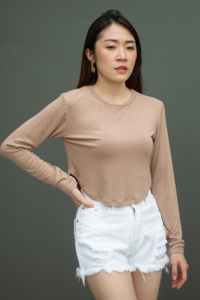 Curve Hem Long Sleeve Top (4 colours)