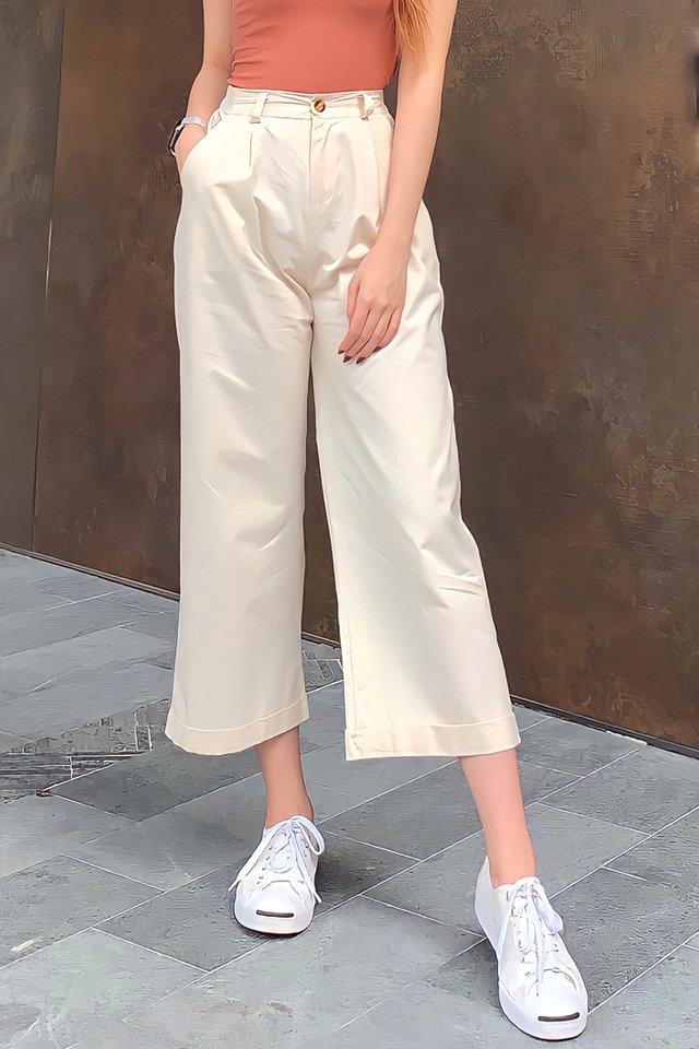 Wide Leg Fold Hem Pants (5 colours)