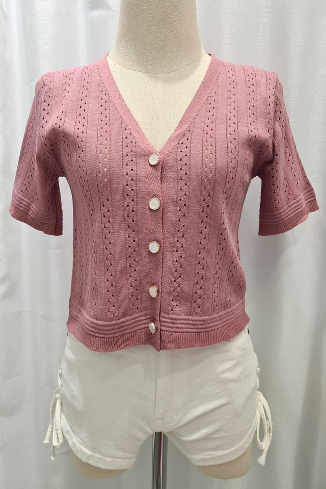 Pearly Button Down Knit Top (3 Colours)